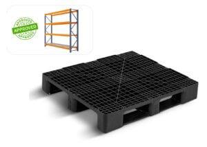 Foto ilustrativa de uma pallet plástico que pode ser utilizado em racks metálicos e porta pallets