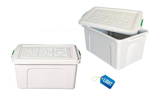 ilustra a caixa plástica 70 litros light, com a tampa aberta e também fechada
