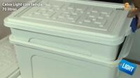 demonstração do empilhamento que reduz espaço quando vazia