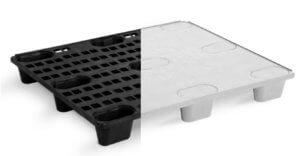 imagem que mostra os 2 tipos de superficie de um pallet de plastico
