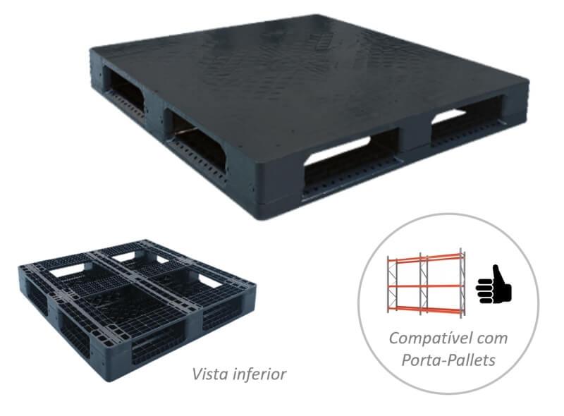 Palete Plástico Liso com 6 deslizadores para estante e solo
